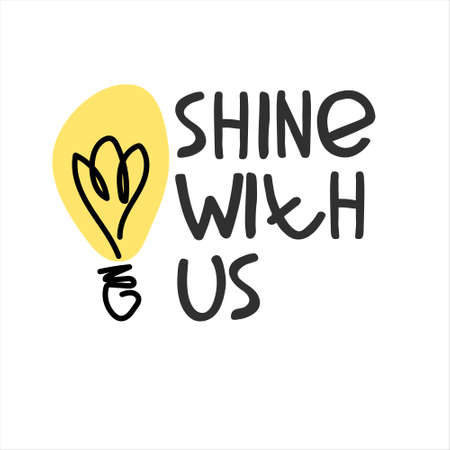 Shine with us. Banner for a recruitment ad. Heading for human resources documents, personal development trainings. Hand drawn bulb, lettering Imagens - 148951926