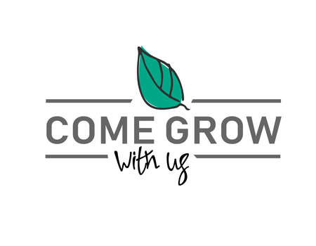 Come grow with us. Banner for a recruitment ad. Heading for human resources documents. Recruitment, teamwork and personal growth concept. Hand drawn green leaf, lettering