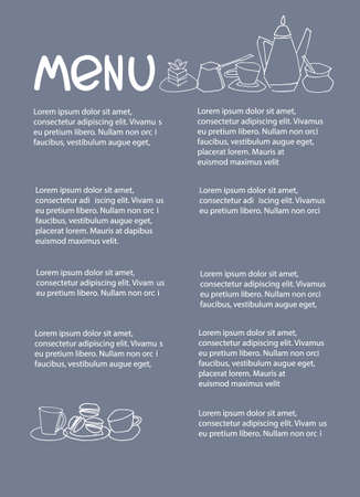 Cafe menu design with place for your text. Dessert menu template. Decorated with hand drawn cups, pots, glasses, cakes, pastry, flower vases on warm gray-blue background Ilustração