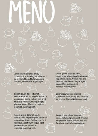 Cafe menu design with place for your text. Dessert menu template. Decorated with hand drawn cups, pots, glasses, cakes, pastry, flower vases on warm gray background Imagens - 149548674