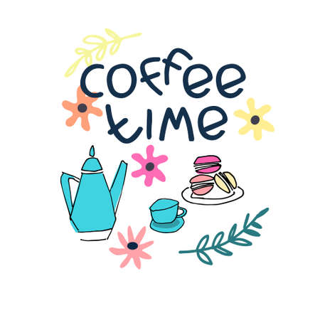 Coffee Time hand lettering and hand drawn coffee set. Coffee break sign. Isolated on white background Ilustração