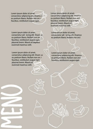 Cafe menu design with place for your text. Dessert menu template. Decorated with hand drawn cups, pots, glasses, cakes, pastry, flower vases on warm gray background