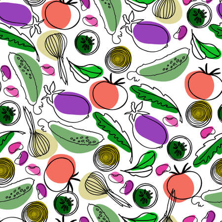 Seamless pattern with vegetables, beans and greens for surface design, posters, illustrations. Isolated elements on white background. Healthy carb foods, vegan theme Ilustração