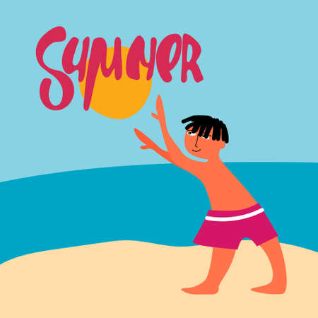 Playing with ball-sun on the sea beach. Hand lettering and vector illustration in flat style. Summer holidays concept. Seaside resort banner, advertisement