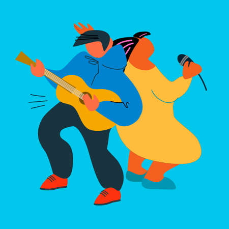 Guitar and vocal duet performance. Acoustic, pop concert. Event poster, music festival advertisement design element. Female singer and male guitar player vector illustration in flat style Imagens - 150327009