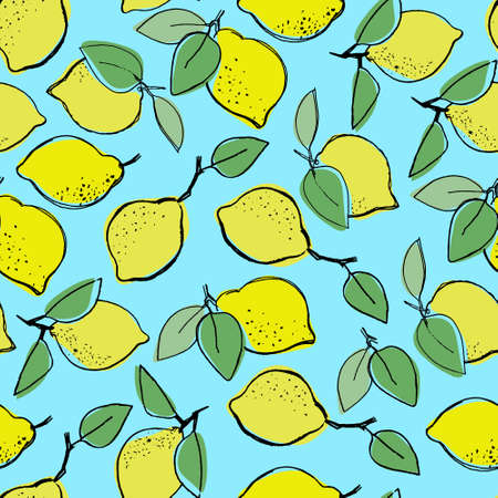 Seamless pattern with hand drawn lemons for surface design, posters, illustrations on turquoise background. Healthy vegan food, tropical fruit theme