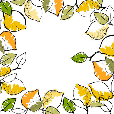 Frame with hand drawn lemons on white background. Healthy vegan food, tropical theme Ilustração