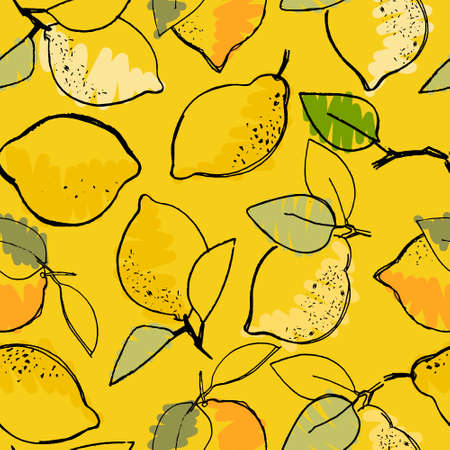 Seamless pattern with hand drawn lemons for surface design, posters, illustrations on yellow background. Healthy vegan food, tropical fruit theme Ilustração