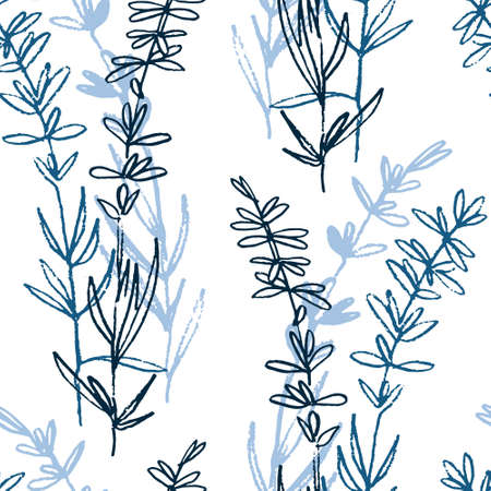 Seamless pattern with hand drawn lavender plants for surface design and other design projects
