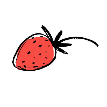 Strawberry. Hand drawn vector illustration for teaching aid, price tag, fruit stores, restaurants and farm markets promotion. Isolated design element