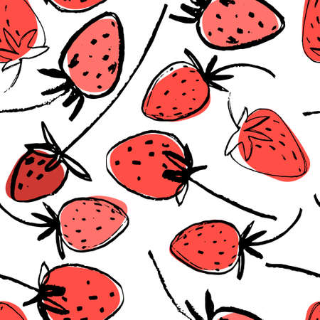Seamless pattern with hand drawn strawberries for surface design and other design projects. Gardening, summer, healthy food themes