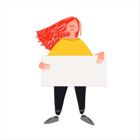 Female protester. Young woman holding a sign, picketing. Vector illustration in flat style