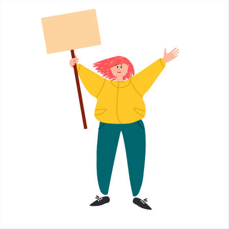 Female protester. Young woman holding a placard, picketing. Vector illustration in flat style