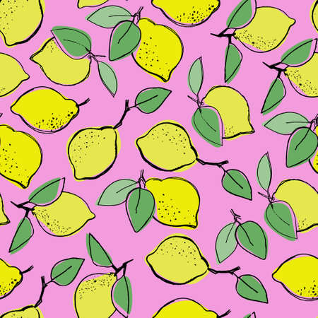 Seamless pattern with hand drawn lemons for surface design, posters, illustrations on pink background. Healthy vegan food, tropical fruit theme Ilustração