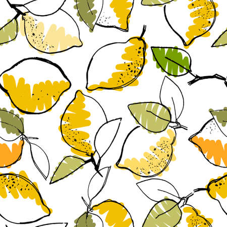 Seamless pattern with hand drawn lemons for surface design, posters, illustrations on white background. Healthy vegan food, tropical fruit theme
