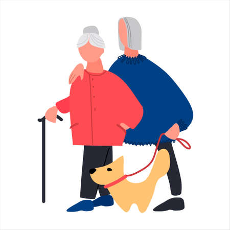 Happy old people walking the dog. Senior couple enjoying a walk together. Vector illustration in trendy flat style. Isolated on white