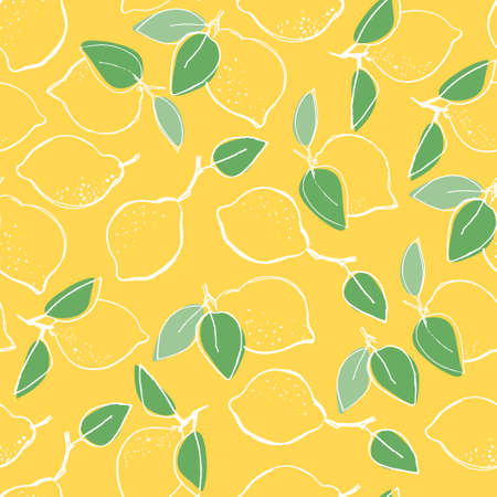 Seamless pattern with hand drawn lemons for surface design, posters, illustrations on yellow background. Healthy vegan food, tropical fruit theme Imagens - 151094914