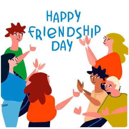 Happy Friendship Day concept. Greeting card with happy young people applauding, celebrating. Vector illustration in flat style with hand-lettered greetings on white background