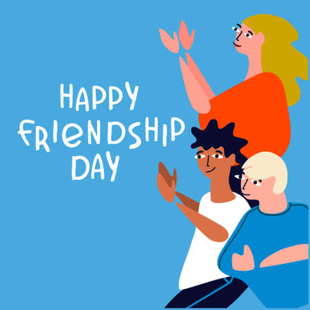 Happy Friendship Day concept. Greeting card with happy young people applauding, celebrating. Vector illustration in flat style with hand lettering on blue background