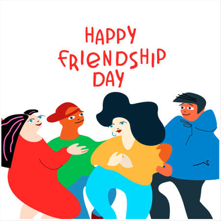 Happy Friendship Day concept. Greeting card with happy young people. Vector illustration in flat style with hand-lettered greetings on white background Ilustração
