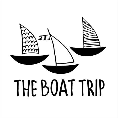 Boat trips logo. Boat sightseeing tours, sea or river cruise routes banner. Yacht hand drawn vector illustrations with hand lettering