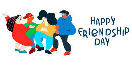 Happy Friendship Day concept. Horizontal greeting card with happy young people. Vector illustration in flat style with hand-lettered greetings on white background