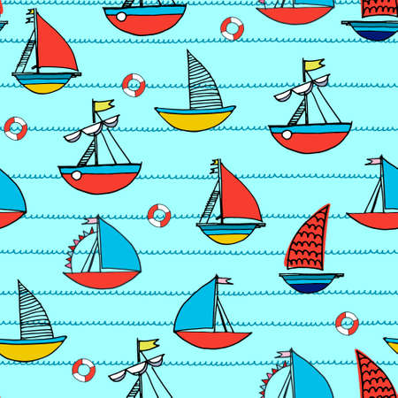 Seamless pattern with hand drawn sailing boats, safety rings for surface design and other design projects