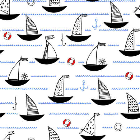 Seamless pattern with hand drawn sailing boats, anchors, fishhooks, safety rings for surface design and other design projects. Sailing and fishing concept