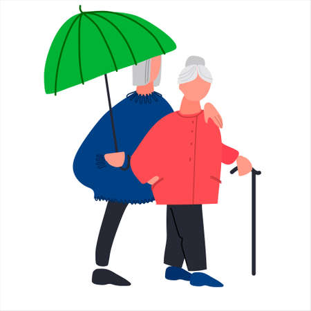 Happy old people walking under umbrella. Senior couple enjoying a walk together in the rain. Illustration in flat style. Isolated on white