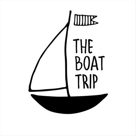 Boat trips. Boat sightseeing tours, sea or river cruise routes banner. Yacht hand drawn illustration with hand lettering