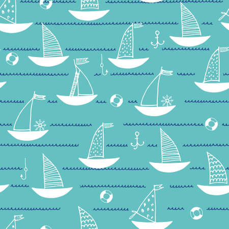 Seamless pattern with hand drawn sailing boats, anchors, fishhooks, safety rings on marine-blue background for surface design and other design projects. Sailing and fishing concept