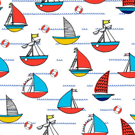 Seamless pattern with hand drawn sailing boats, safety rings on white background for surface design and other design projects