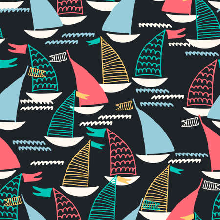 Seamless pattern with hand drawn sailing boats and waves on dark background for surface design and other design projects. Sailing and fishing concept Ilustração