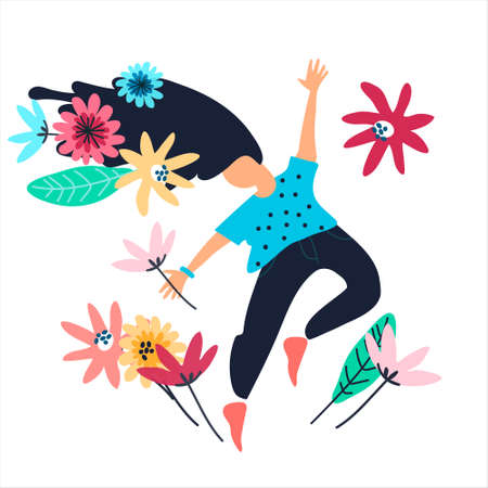 Young woman dancing, jumping from joy, having fun amidst flowers. Summer concept. Happiness and love concept. Picking flowers concept. Vector illustration in abstract flat style