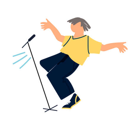 Dancing male pop, rock and roll singer by the stage microphone. Pop music concert. Vocal and dance performance. Vector illustration in flat style