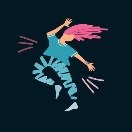 Young woman dancing, having fun. Disco party concept. Vector illustration in flat style. Isolated on black background