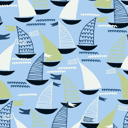 Seamless pattern with hand drawn sailing boats and waves on blue background for surface design and other design projects. Sailing and fishing concept