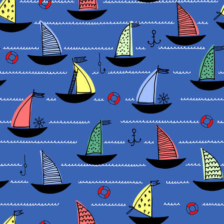 Seamless pattern with hand drawn sailing boats, anchors, fishhooks, safety rings on dark blue background for surface design and other design projects. Sailing and fishing concept