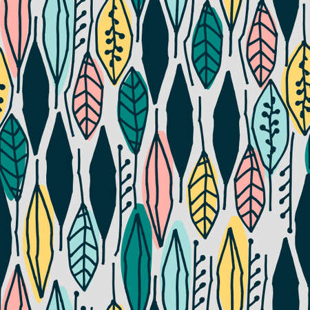 Seamless pattern with colorful tropical leaves on light-colored background for surface design and other design projects