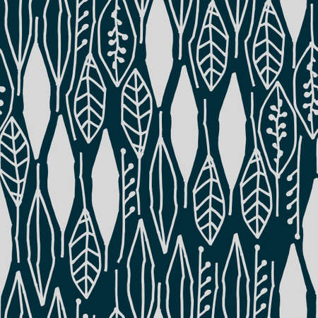 Seamless black and white pattern with tropical leaves on black background for surface design and other design projects