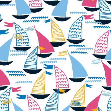 Seamless pattern with hand drawn sailing boats and waves on white background for surface design and other design projects. Sailing and fishing concept Ilustração