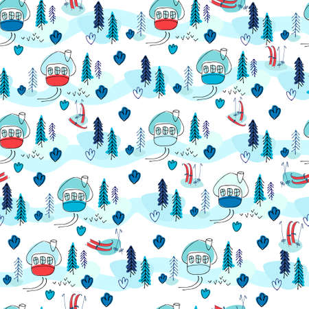 Seamless pattern with winter cottages, fir trees and skis in the snow. Winter holidays background. Winter recreation concept