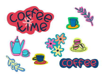 Set of coffee stickers. Hand lettering, coffee cups, pot, flowers vector illustration. Isolated on white background Ilustração