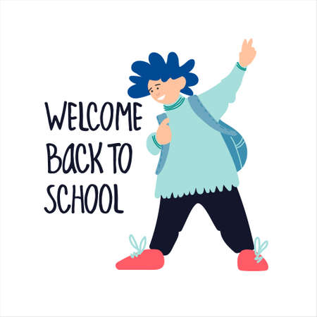Welcome Back to School banner. Schoolboy showing V-sign vector illustration in flat style design and hand lettering