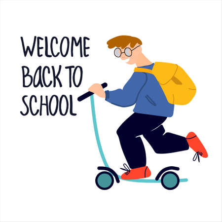 Welcome Back to School banner. Schoolboy riding scooter vector illustration in flat style design and hand lettering