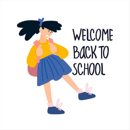 Welcome Back to School banner. Schoolgirl vector illustration in flat style design and hand lettering Imagens - 152887899