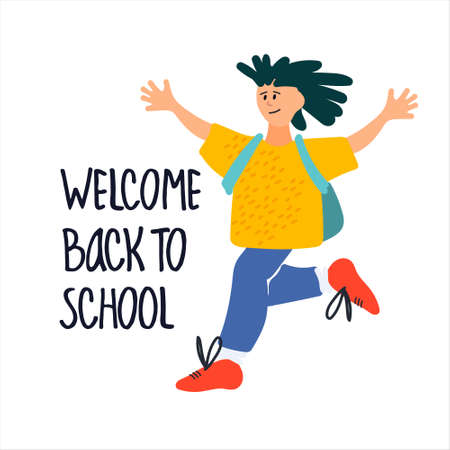 Welcome Back to School banner. Happy schoolboy vector illustration in flat style design and hand lettering Ilustração
