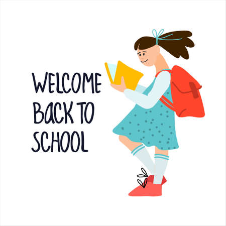 Welcome Back to School banner. Schoolgirl with book and college bag vector illustration in flat style design and hand lettering Imagens - 152887921