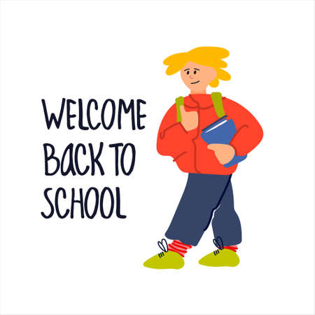 Welcome Back to School banner. Schoolboy with book vector illustration in flat style design and hand lettering