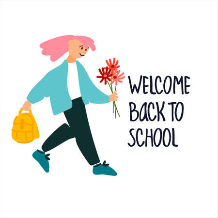 Welcome Back to School banner. Schoolgirl with flowers vector illustration in flat style design and hand lettering